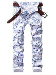 Zip Fly Print Slim Fit Jeans -