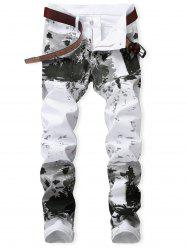 Zipper Fly Splash-ink Pattern Jeans -