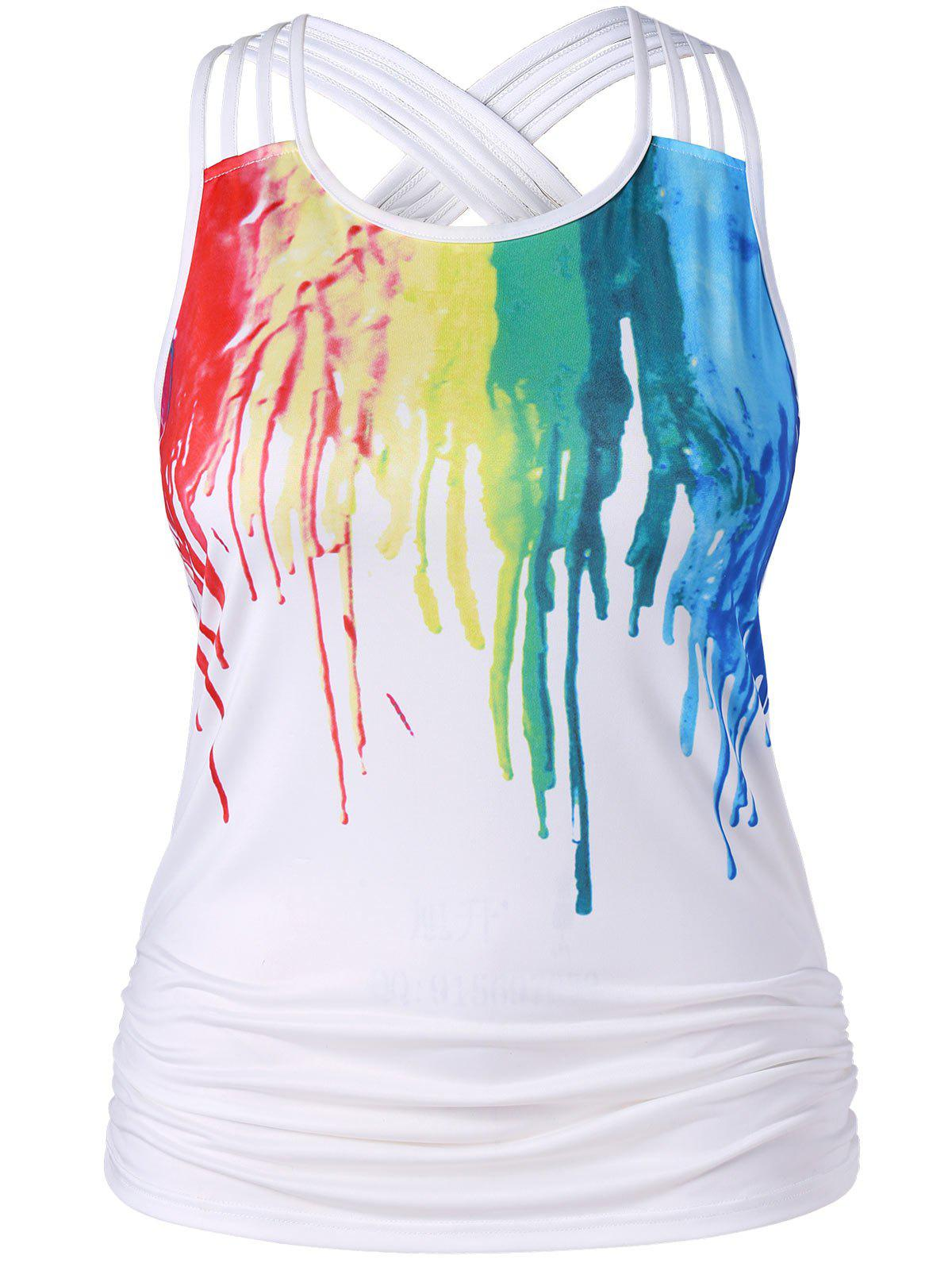 Sale Plus Size Ruched Paint Drip Tank Top