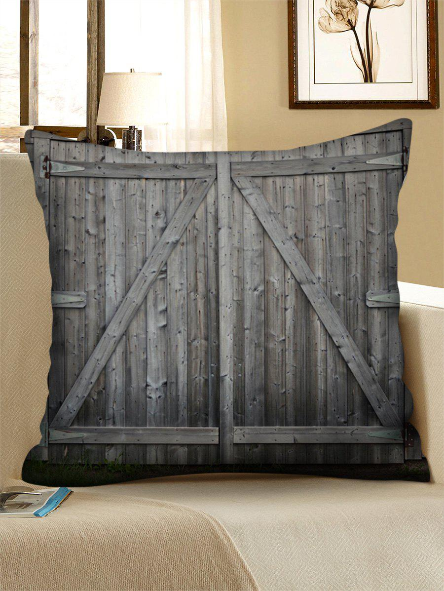Store Wooden Double Door Print Decorative Linen Sofa Pillowcase