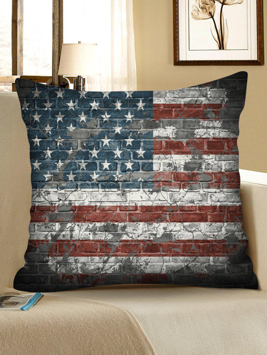 Outfit American Flag Brick Wall Pattern Decorative Linen Sofa Pillowcase