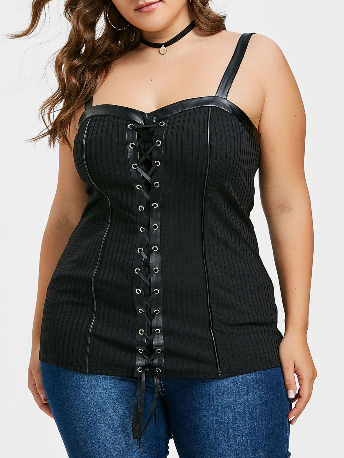 Chic Plus Size Ribbed Lace Up Tank Top