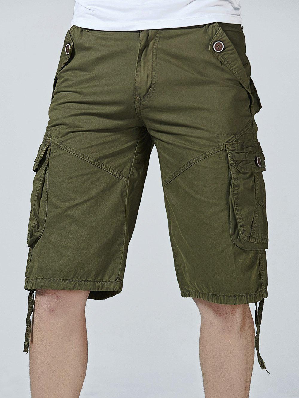 Buy Drawstring Design Zipper Fly Cargo Shorts with Pockets