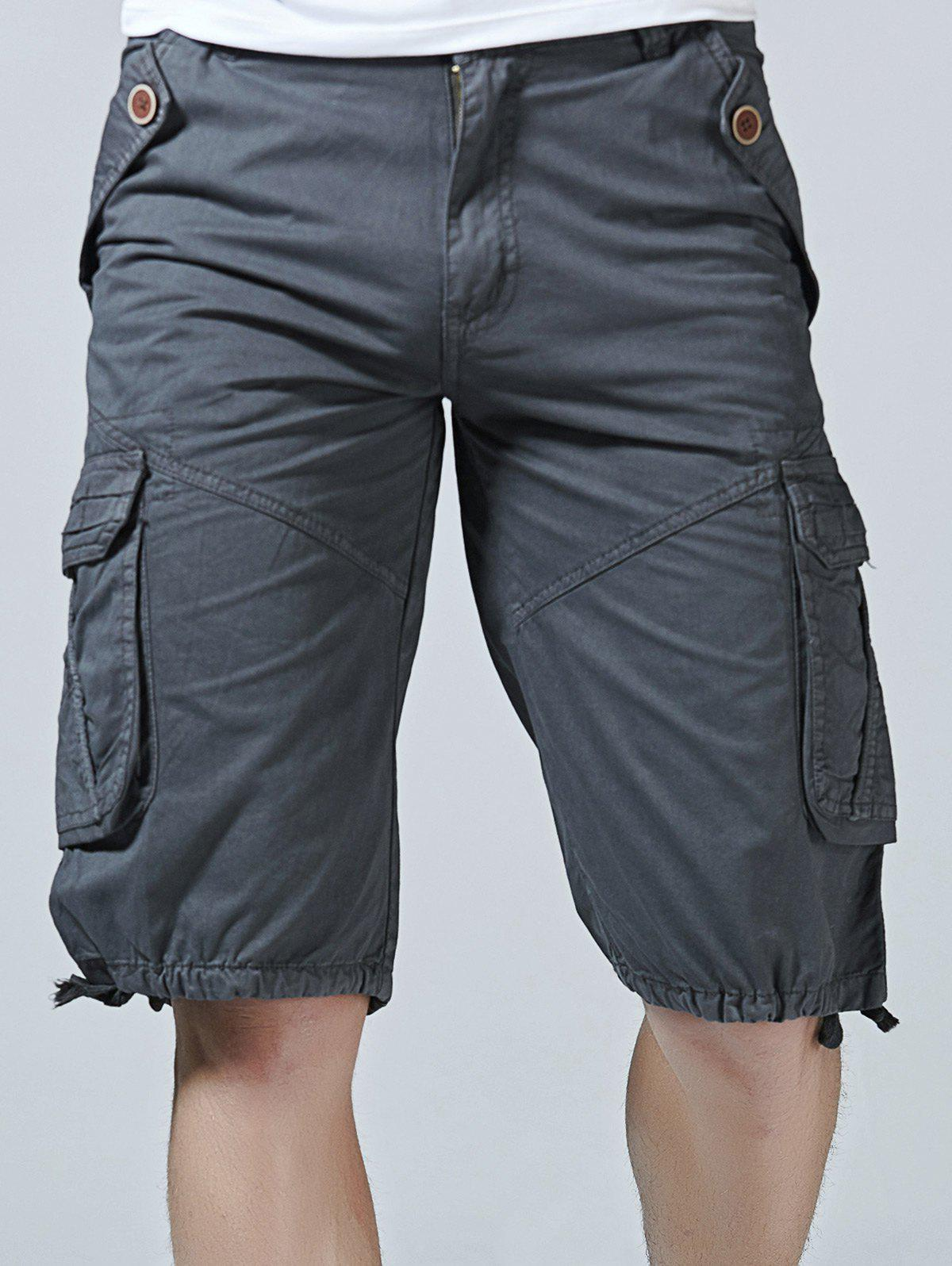 Outfit Drawstring Design Zipper Fly Cargo Shorts with Pockets