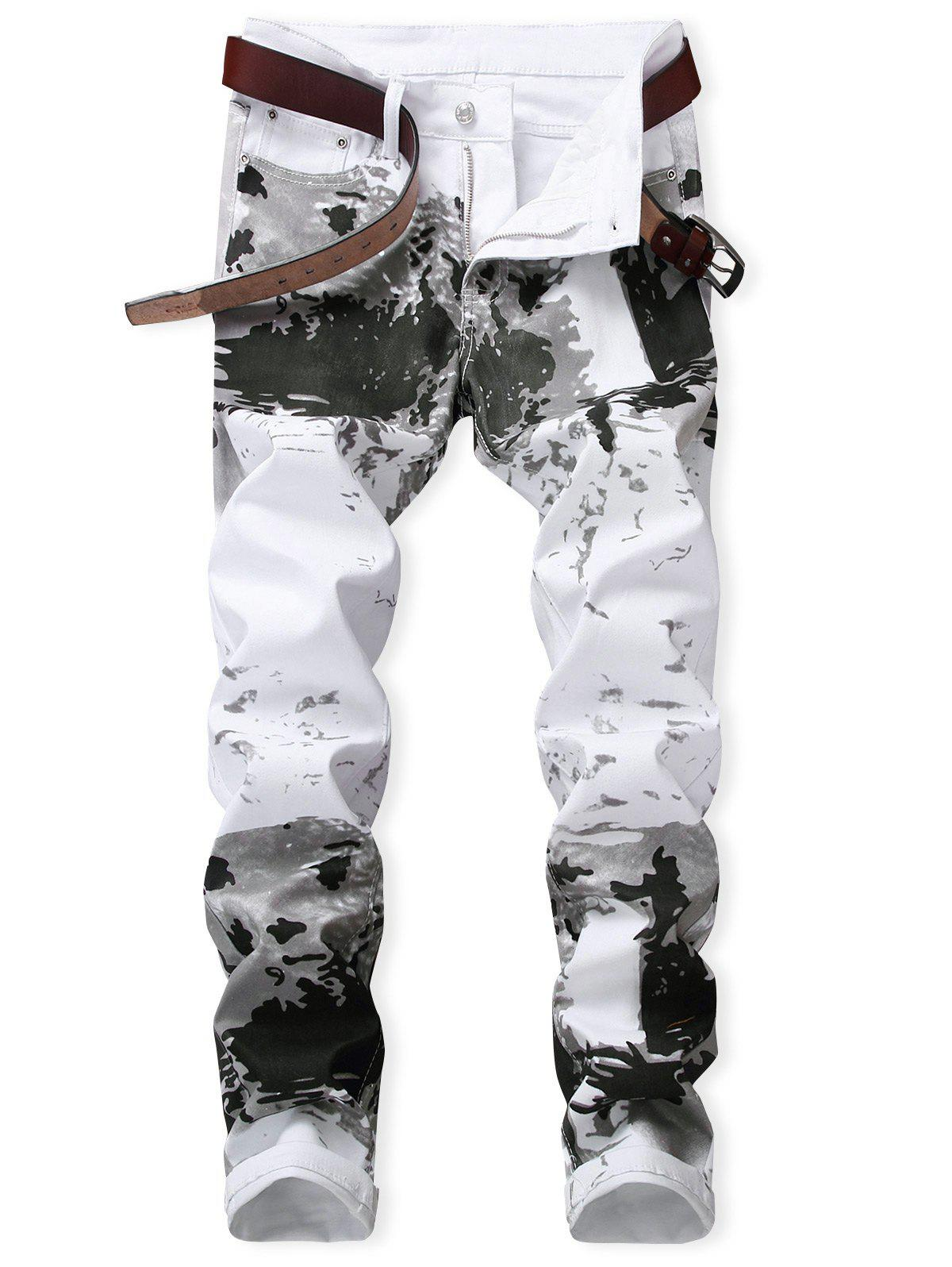 Sale Zipper Fly Splash-ink Pattern Jeans