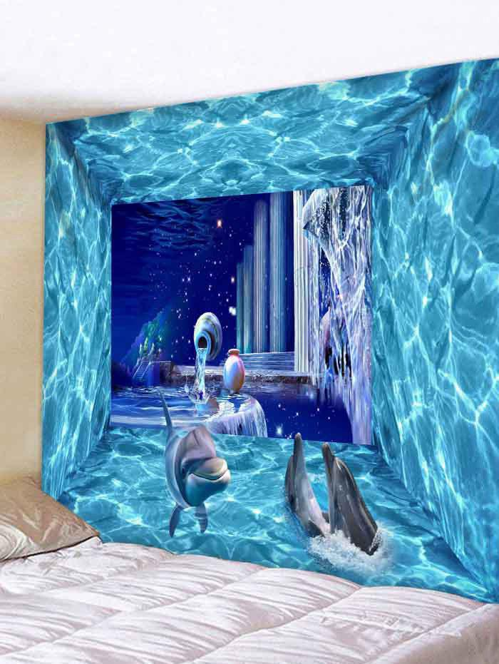 Latest Wall Hanging Art Dolphin 3D Underwater Print Tapestry