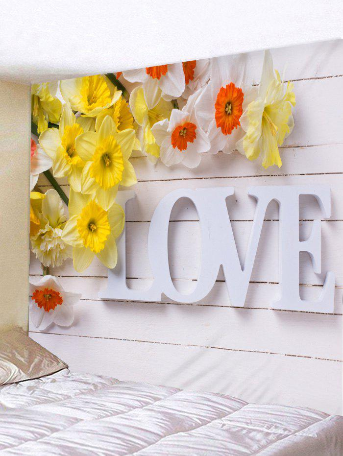 Best Love Print Flower Wood Board Wall Art Tapestry