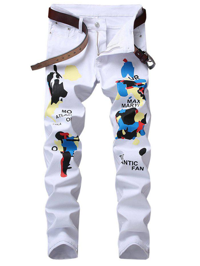 Cheap Slim Fit Letter Graphic Print Jeans