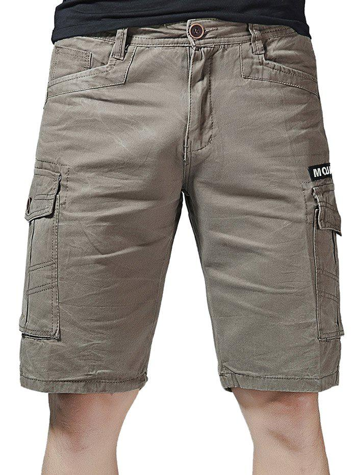 Affordable Zip Fly Letter Print Flap Pockets Cargo Shorts