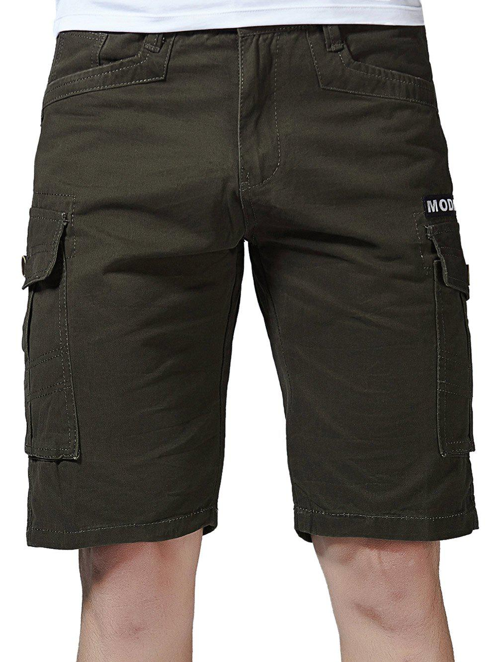 New Zip Fly Letter Print Flap Pockets Cargo Shorts