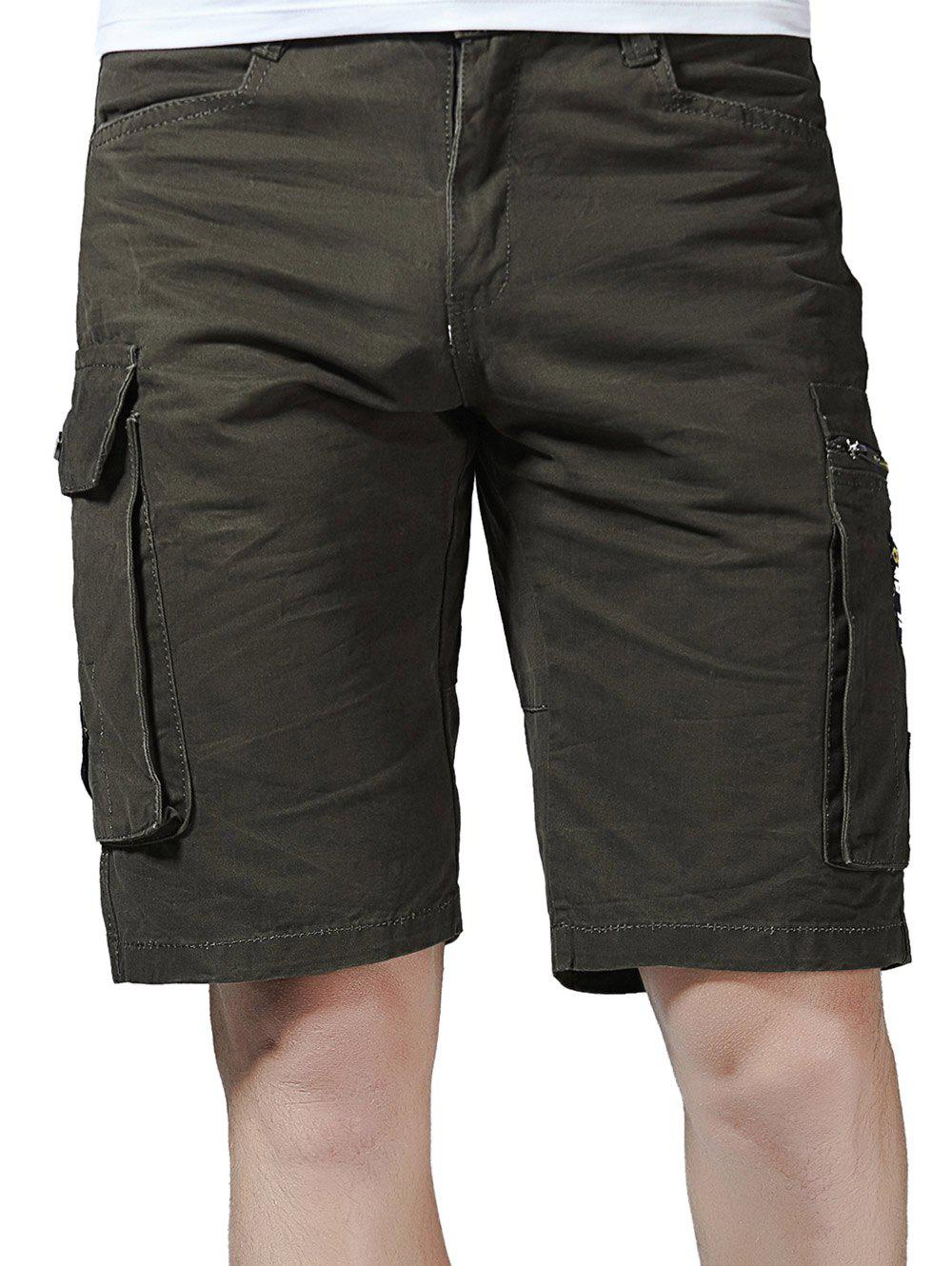Fashion Flap Pockets Letter Applique Zipper Fly Cargo Shorts
