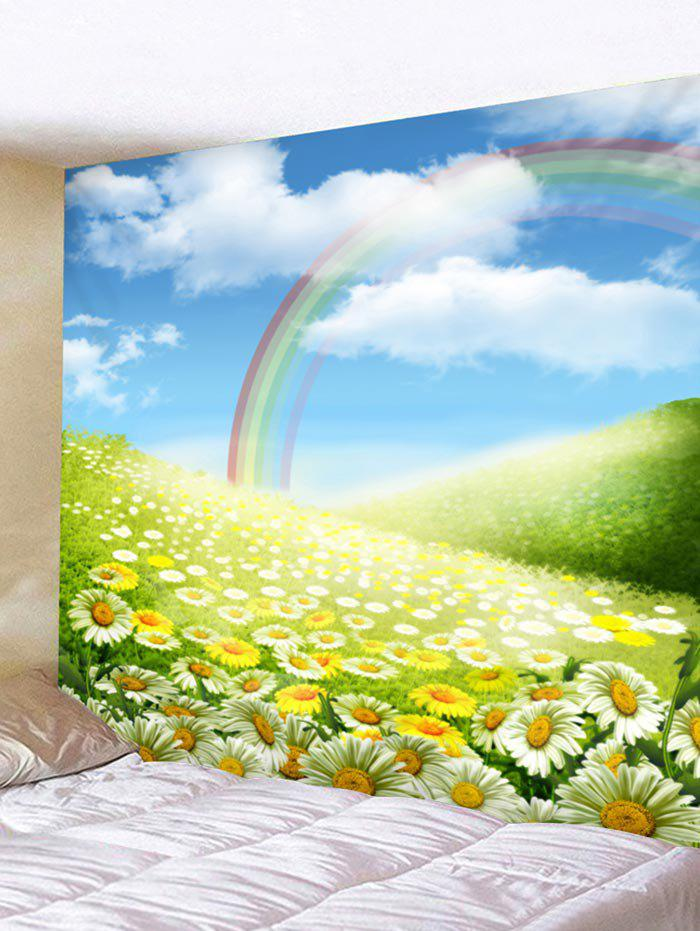 Online Rainbow Sunflower Clouds Sky Print Wall Art Tapestry