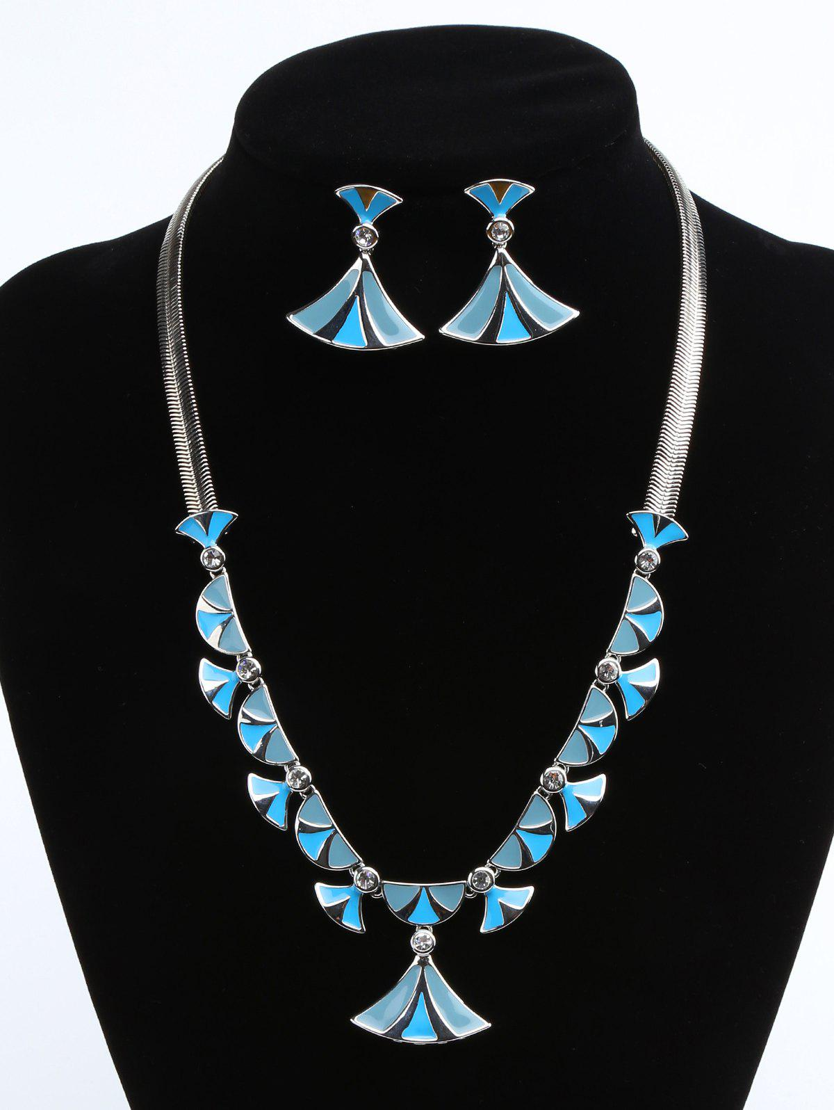 Hot Alloy Fan Shaped Faux Diamond Inlaid Pendant Necklace and Drop Earrings