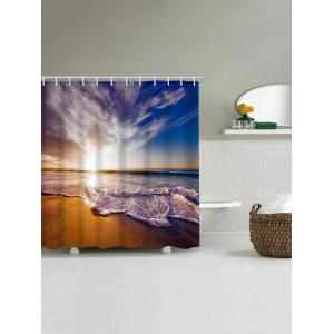 Sunset Seaside Scenery Print Waterproof Shower Curtain -