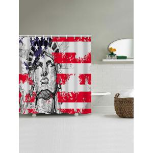 American Flag and Statue of Liberty Print Waterproof Shower Curtain -