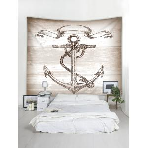 Vintage Anchor on Wooden Background Printed Wall Tapestry -