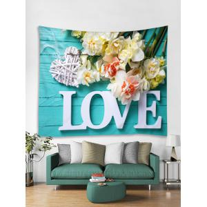 Love Flowers Printed Wall Art Tapestry -