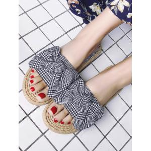 Straw Flat Heel Plaid Bow Sandals -