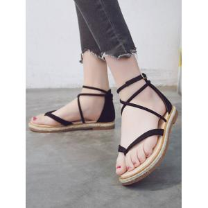 Criss Cross Flat Heel Ankle Strap Sandals -
