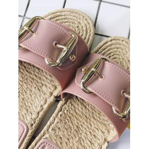Straw Flat Heel Buckle Strap Sandals -