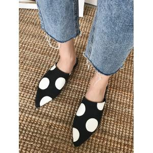 Point Toe Spot Print Flat Heel Sandals -