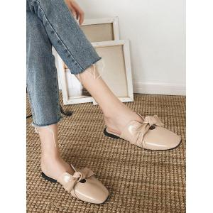 Bow Square Toe Flat Heel Mules Shoes -