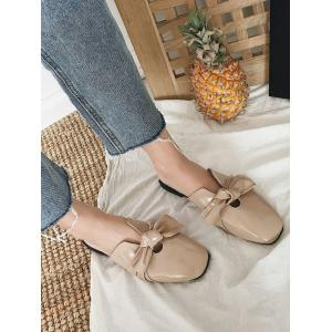 Bow Square Toe talon plat Mules Chaussures -
