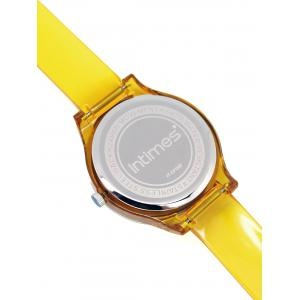 Transparent PU Strap Bright Crystals Engraved Wristwatch -
