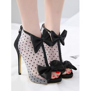Clearance Geniue Stockist Bow Spot Print Stiletto Heel Peep Toe Sandals - BLACK Top Quality Buy Cheap Official Site Fast Shipping For Sale Online Store BTWcGhhCdc