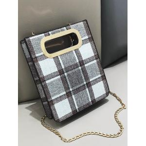 Color Block Plaid Cut Out Crossbody Bag -