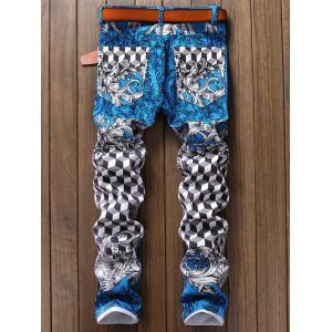 Flower Geometric Figure Print Narrow Feet Jeans -