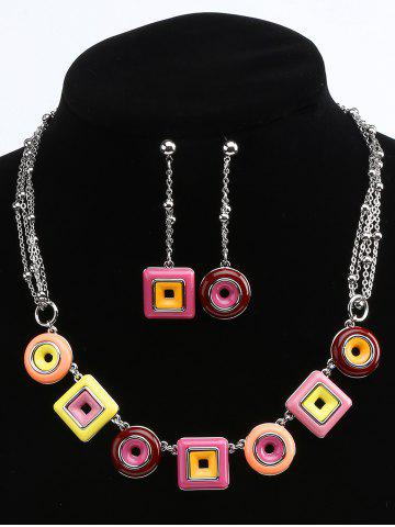 Discount Geometric Round and Rectangle Layered Necklace and Drop Earrings