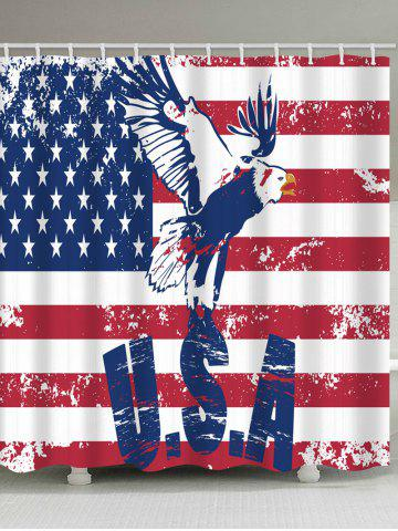 Shop American Flag Eagle Print Fabric Bathroom Shower Curtain