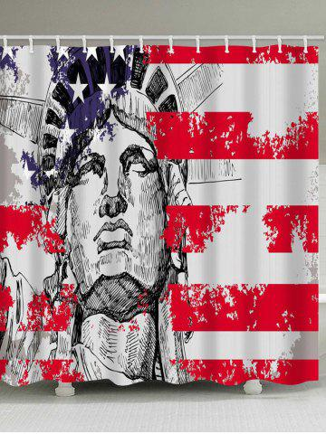 Store American Flag and Statue of Liberty Print Waterproof Shower Curtain