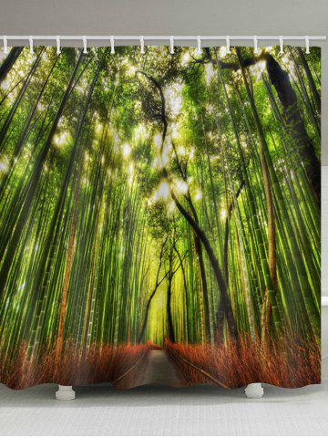 Fashion Sunlight Bamboo Forest Print Waterproof Shower Curtain