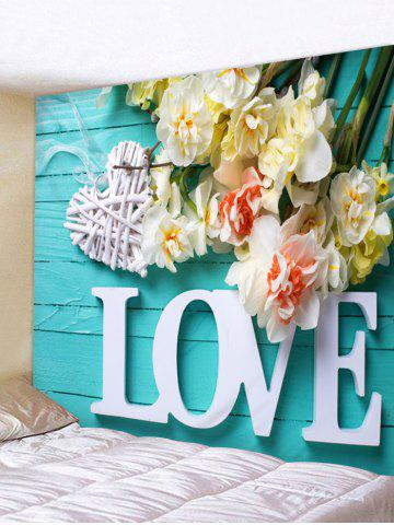Online Love Flowers Printed Wall Art Tapestry