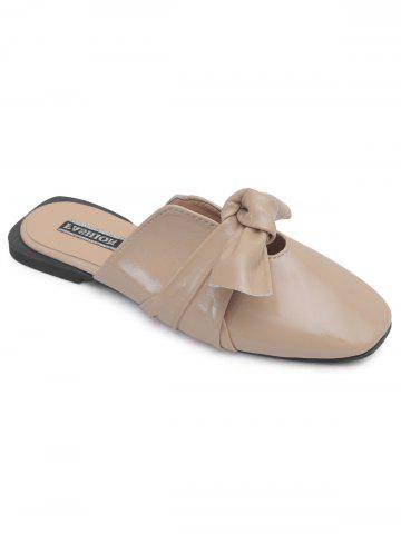 Bow Square Toe talon plat Mules Chaussures