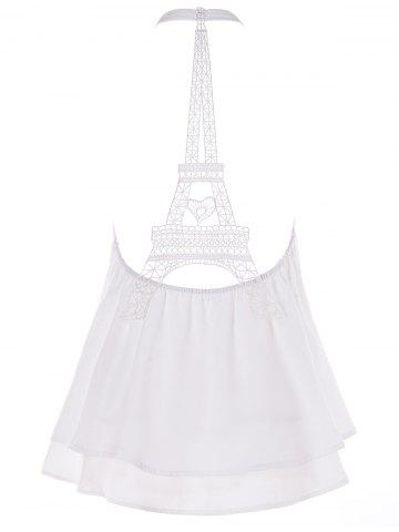 Halter Eiffel Tower Hollow Out Swing Tank Top