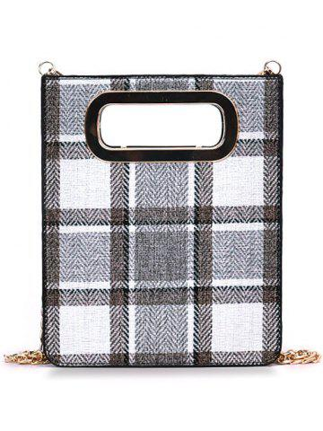 Fancy Color Block Plaid Cut Out Crossbody Bag