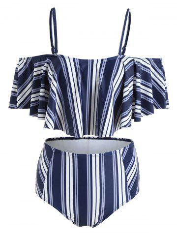 Store High Cut Striped Flounce Bikini