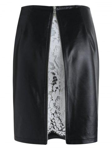 High Waisted Lace Panel Faux Leather Skirt