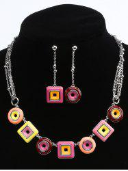 Geometric Round and Rectangle Layered Necklace and Drop Earrings -