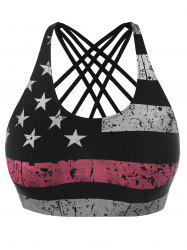 Plus Size Criss Cross American Flag Crop Top -