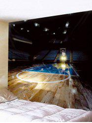 Tapisserie suspendue d'impression de basket-ball d'arène de basket-ball vide -