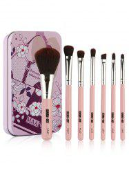 Set of 7Pcs Extra Soft Fiber Hair Cosmetic Brush with Tin Box -