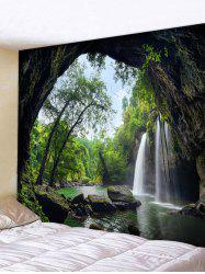 Deep Forest Waterfall Scenery Printed Tapestry Wall Art -