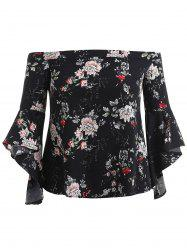 Flower Print Plus Size Off Shoulder Blouse -
