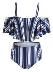 High Cut Striped Flounce Bikini -