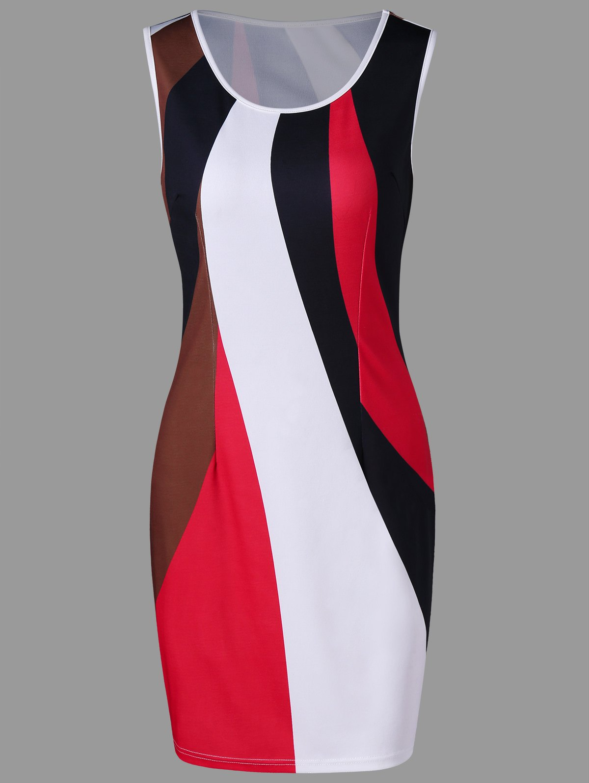 Latest Color Contrast Sleeveless Pencil Dress