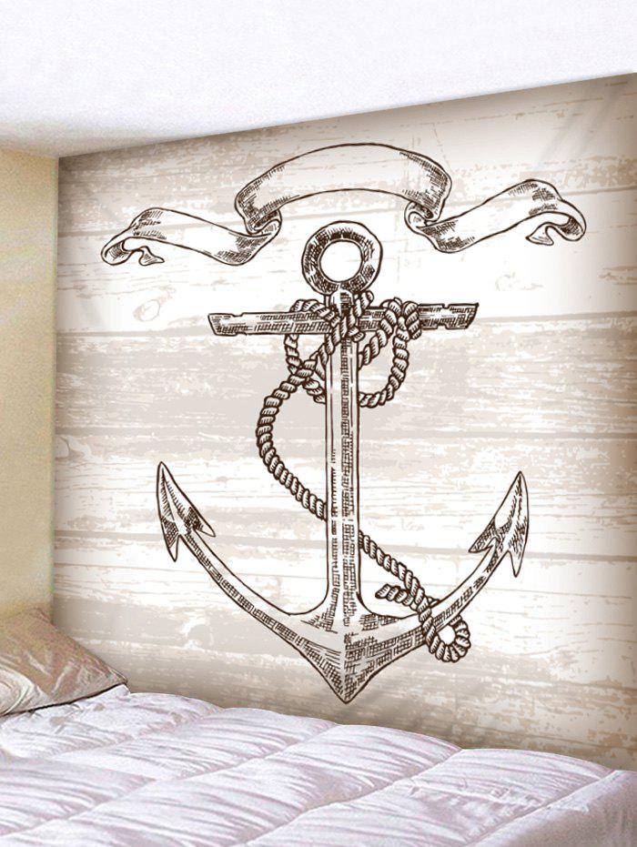 Chic Vintage Anchor on Wooden Background Printed Wall Tapestry